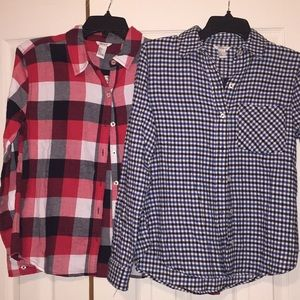 Two Forever 21 fleece checkered button down shirts